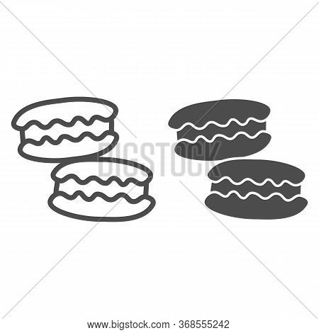 Macaroon Line And Solid Icon, Confectionary Concept, Macaroon Sweet Dessert Sign On White Background