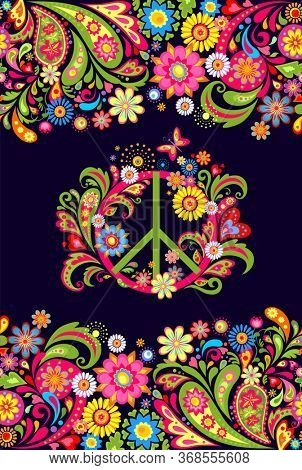 Vivid print on the dark background with floral decorative seamless border and hippie peace flowers symbol for T shirt, bag, fashion print