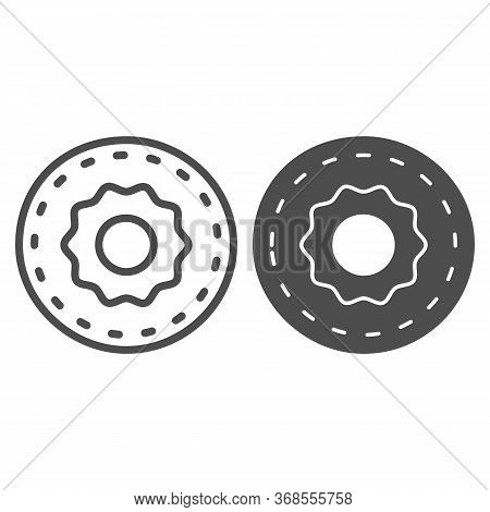 Donut Line And Solid Icon, Confectionary Concept, Sweet Tasty Fried Bakery Sign On White Background,