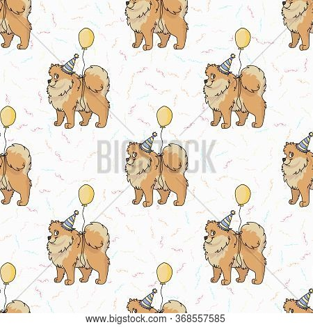 Hand Drawn Cute Pomeranian Dog With Party Hat Seamless Vector Pattern. Purebred Pedigree Domestic Do