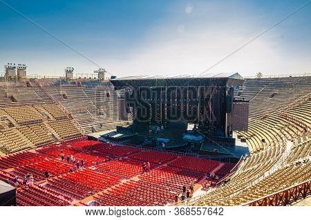 Verona, Italy, September 12, 2019: The Verona Arena Interior Inside View With Stone Stands And Stage