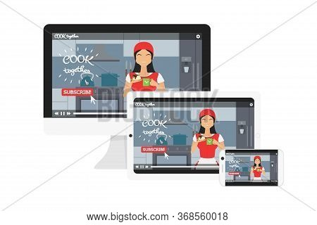 Vector Concept Of Responsive Web Design For Blog. Adaptive Video Player For Tablet, Monitor, Smartph