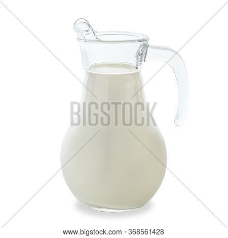 A Jug With Cow Milk Filled To The Top Stands On A White Background. Milk Is Very Healthy.