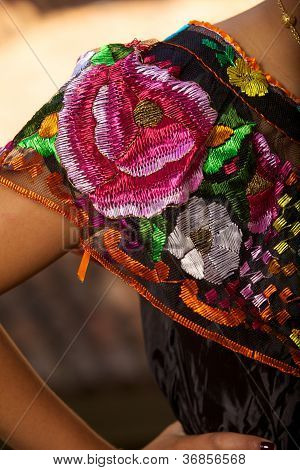 Folkloric Mexican dress detail from Chiapas, Mexico