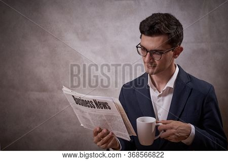 Business Man With Newspaper, Morning News