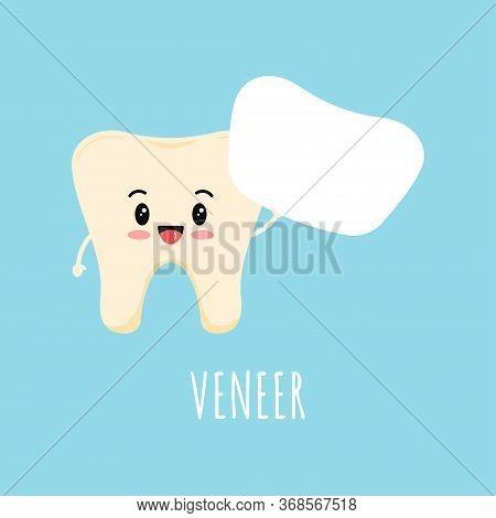 Cute Yellow Tooth Emoji With White Dental Veneer Or Lumineer. Dental Tooth Orthodontic Prosthetics,
