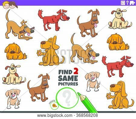 Cartoon Illustration Of Finding Two Same Pictures Educational Game For Children With Funny Dogs Anim