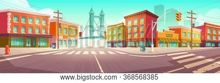 City Street With Houses, Road With Pedestrian Crosswalk And Traffic Lights. Vector Cartoon Cityscape