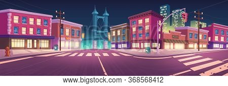 City Street With Houses, Road With Pedestrian Crosswalk And Traffic Lights At Night. Vector Cartoon