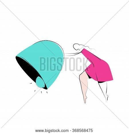 Woman Pulling The Bell - Notifiations Concept Vector Illustration On A White Background. Product Cat