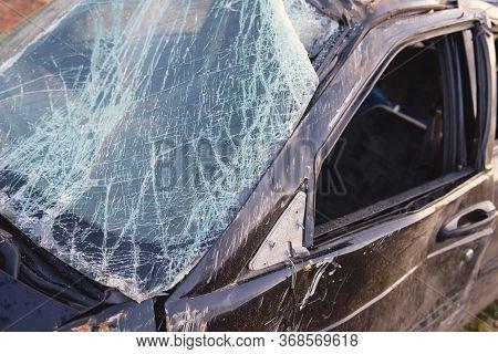 Broken After The Accident Windshield. Broken Windshield.broken Glass Glass In Cracks.