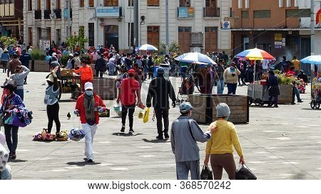 Cuenca, Ecuador - May 27,2020: Plaza Civica Is Trading Square In Front Of Agriculture Market 9 De Oc