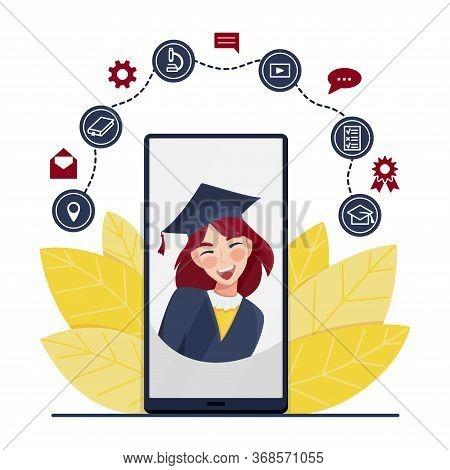 Happy Graduate Student Girl In Academic Dress And Graduation Caps. Class Of 2020 Online Virtual Grad