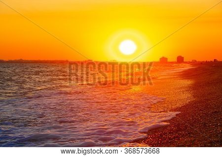 Bright Summer Seascape At Sunset. Summer Seascape Copy Space. Sea Beach. Sea Tour. Opening Resorts.
