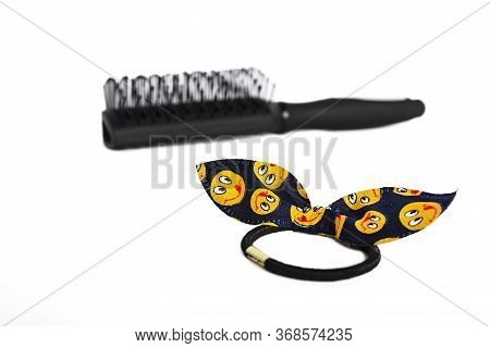 Hair Accessories For Women And Girls. Navy Blue Hair Band With Yellow Emoticons And Black Hairbrush.