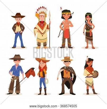 Children Playing In American Indians And Cowboys Characters. Set Of Cartoon Wildwest Characters Cowb