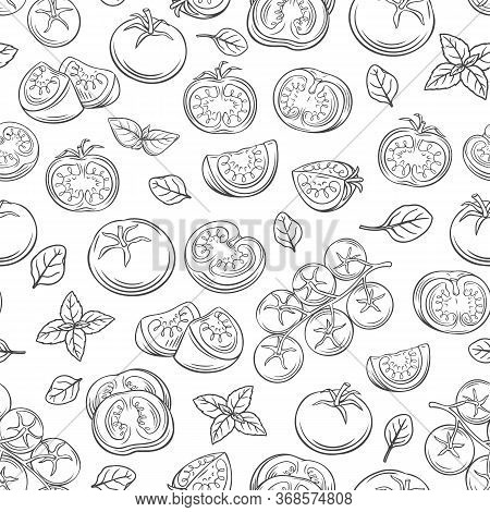 Seamless Pattern Hand Drawn Tomato On A Branch And Slices. Vector Vegetables Of Otline Tomatoes For