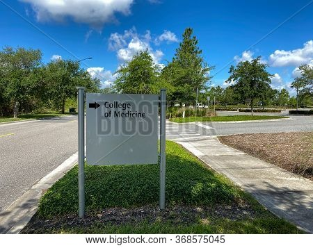 Orlando,fl/usa -5/6/20:  The Directional Sign Pointing To College Of Medicine At The University Of C