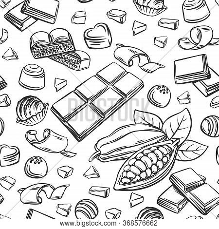 Outline Chocolate Seamless Pattern. Hand Drawn Candy, Cocoa Beans, Chips, And Chocolate Bar Backgrou