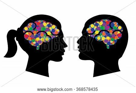 Man And Woman Head Icons With Abstract Brains Vector Illustration