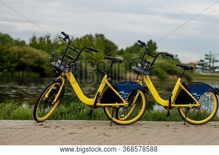 Two Yellow City Bikes By The Lake