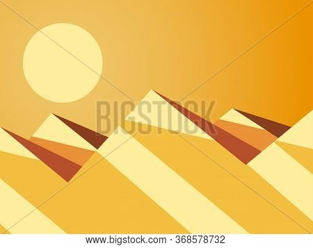 Desert Mountain Landscape. Hot Sunny Day. Desert With Dunes In Flat Style. Vector Illustration