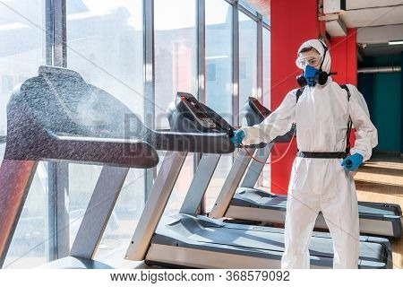 Professional Disinfector Personal Protective Equipment Ppe Suit, Gloves, Mask, Cleaning Gym Space Wi