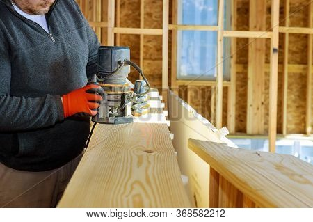 Trimmer For Woodworking Making Curved Edges Electric Powered Router On Wood A Small Woodwork