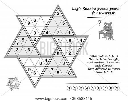 Logic Puzzle Game For Children And Adults. Solve Sudoku So That Each Big Triangle, Each Horizontal R