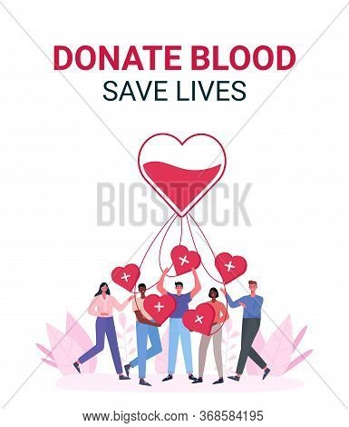 Volunteers Woman And Man Donating Blood. Blood Donor Charity. World Blood Donor Day, Health Care.peo