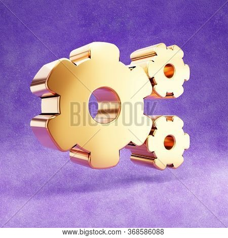 Cog Wheels Icon. Gold Glossy Cog Wheels Symbol Isolated On Violet Velvet Background. Modern Icon For