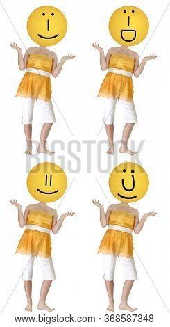 Set of Four Emoji Head Girls Over White