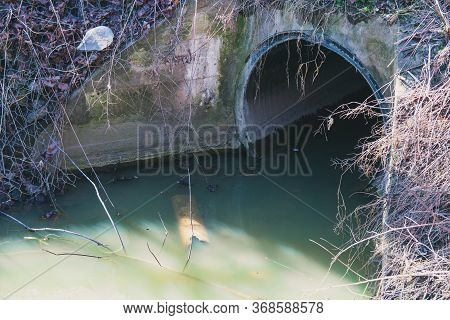 Water Drain, Drain Flow Into The Canal For Prevent Flood Events In The City.