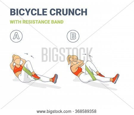 Bicycle Crunch Abs With Resistance Band Girls Abdominal Home Workout Exercise Colorful Concept