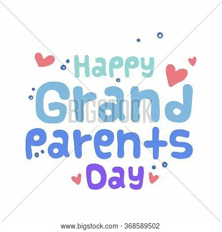 Happy Grandparents Day Card With Text - Vector Illustration
