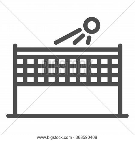 Beach Volleyball Line Icon, Summer Sport Concept, Volleyball Net With Ball Sign On White Background,