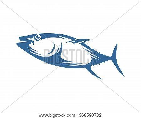 Tuna Fish Logo Vector Design Template, Silhouette Tuna Fish Logo, Illustration