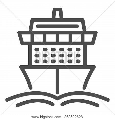 Cruise Ship Line Icon, Summer Journey Concept, Ship With Waves Sign On White Background, Cruise Trav