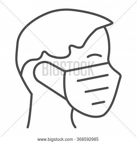 Person In Medical Mask Thin Line Icon, Coronavirus Protection Concept, Wear Protective Mask Sign On