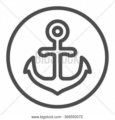 Anchor Emblem In Round Shape Line Icon, Marine Concept, Anchor Sign On White Background, Nautical Em