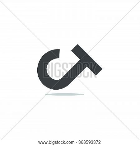 Letter Ct Simple Geometric Shadow Design Logo Vector