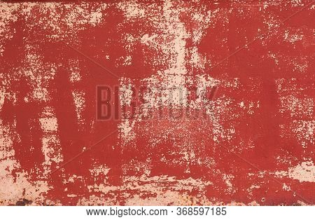 Abstract Grunge Texture Background With Scratch, Vintage Old Red Color Background Use For Web Page B