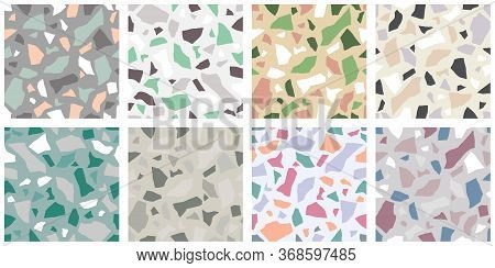 Set Of Terrazzo Flooring Vector Seamless Pattern. Texture Of Classic Italian Type Of Floor In Veneti