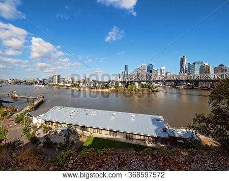 Brisbane, Queensland, Australia - May 2020: Wilson Outlook Reserve On The Banks Of The Brisbane Rive
