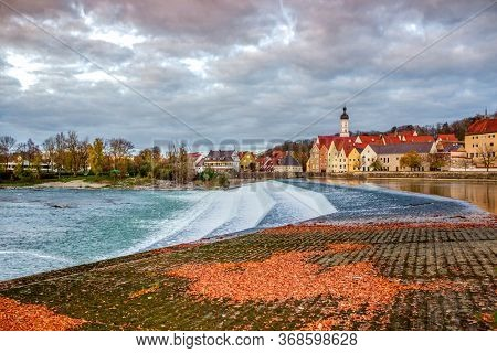 Landsberg am Lech water cascade picturesque view, Germany. The town is located on the Romantic road route in Bavaria.