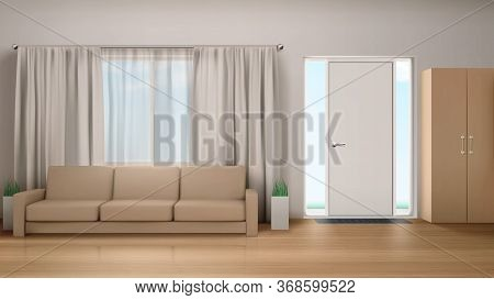 Living Room Interior With Couch, Wardrobe, Curtained Window And Door With Glass Panels. Empty Modern