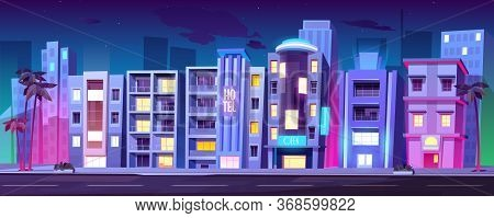 Night City Buildings, Hotels In Miami At Summer, Modern House Architecture, Skyscrapers, Restaurants