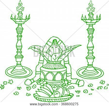 Sketch Of Hindu Wedding Card Design Element Outline Editable Vector Illustration. Hindu Rituals Of M