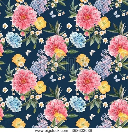 Beautiful Seamless Pattern With Watercolor Pink Peony, Blue Hydrangea And Lilac Summer Flowers And B