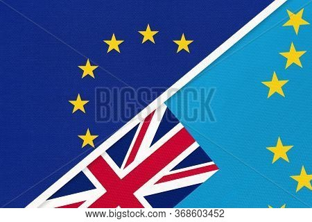 European Union Or Eu And Tuvalu Or Ellice Islands National Flag From Textile. Symbol Of The Council